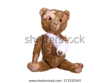 diseased teddybear - stock photo