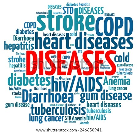 Diseases in word collage - stock photo