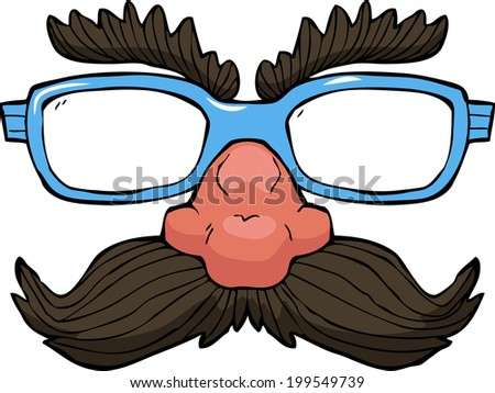 Disguise glasses on white background raster version - stock photo