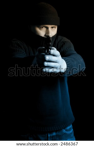 Disguised gunman pointing handgun in your face