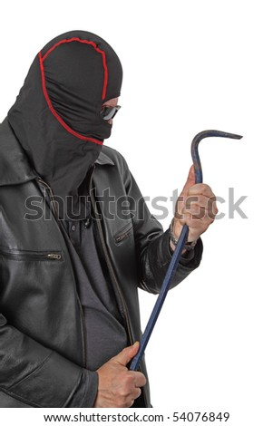 Disguised housebreaker with a crowbar - isolated on white - stock photo