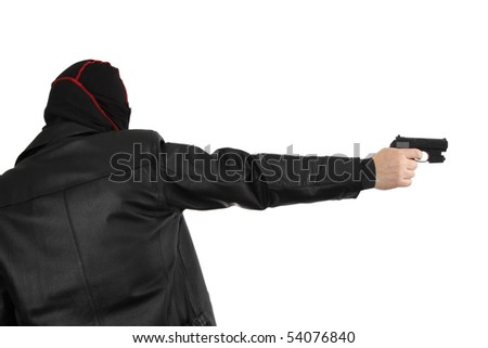 Disguised killer with handgun - isolated on white - stock photo