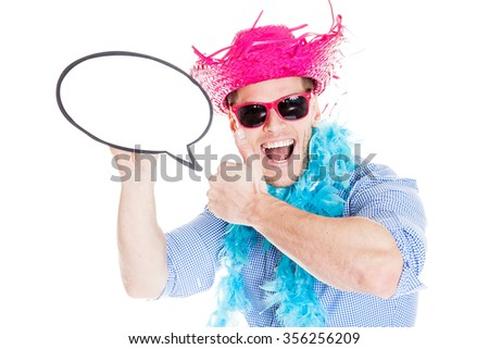 Disguised young man with speech bubble - photo booth photo - stock photo