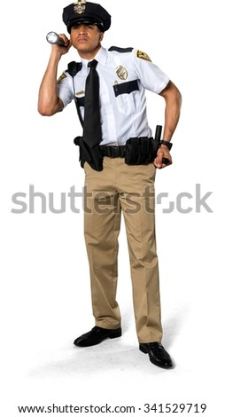Disgusted African young man with short black hair in uniform using prop - Isolated - stock photo