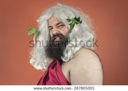 Disgusted zeus god or jupiter against orange background - stock photo