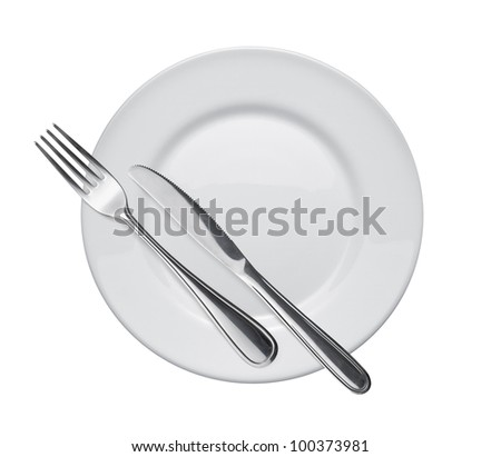 dish and flatware - stock photo