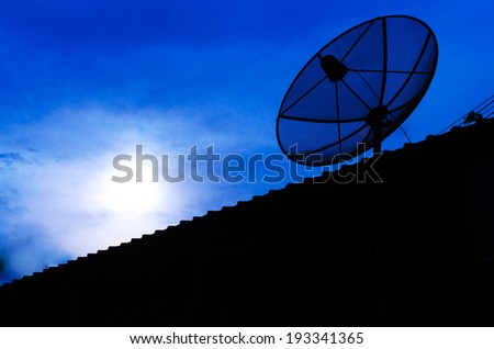 Dish antenna on the roof , Dish antenna evening