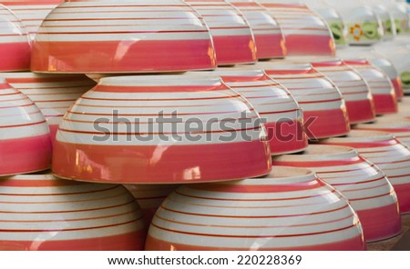 dish-Bowl-Stack of colorful plates. Menu concept