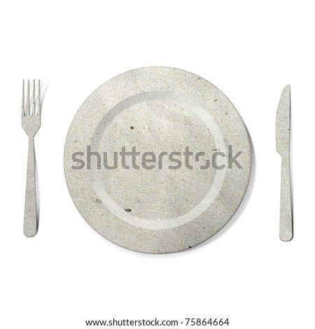 dish fork and knife recycled paper stick on white background - stock photo