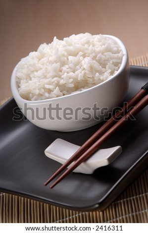 Dish full of plain rice