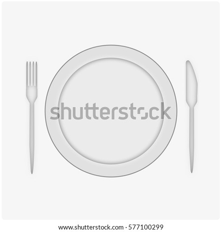 Dish, knife and fork on white table. Simple illustration.