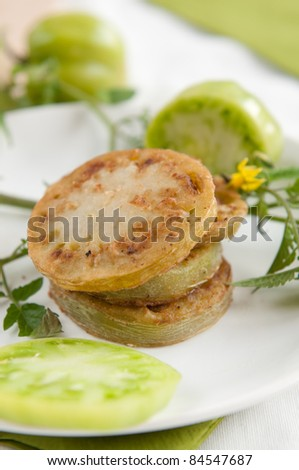 Dish made of fried green tomatoes - stock photo