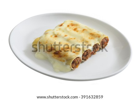 dish of cannelloni ripieni, typical italain food  - stock photo