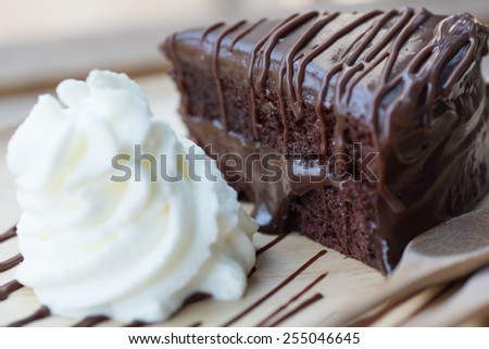 dish of delicious dessert with Chocolate cake - stock photo
