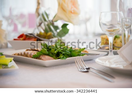 Dish of food. Cold snacks. Serving of food. Table decorations. Menu for a person. Food for anniversaries, weddings and celebrations. - stock photo