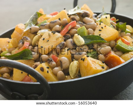 Dish of Lobia Aloo- Black Eyed Bean and Potato Curry