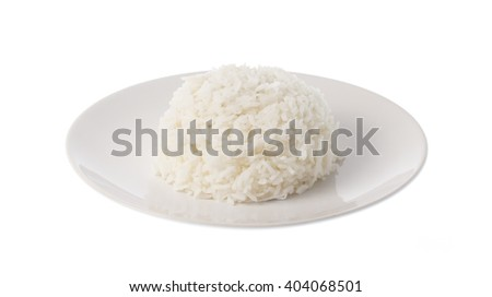 Dish of rice isolated on white background
