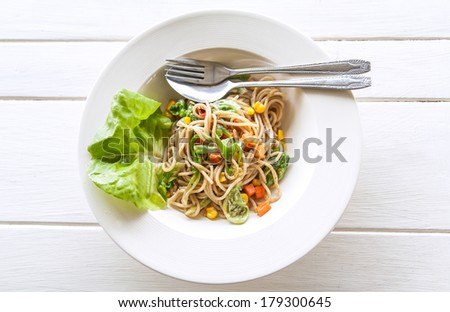 Dish of spaghetti with Vegetables, Spaghetti Black-pepper