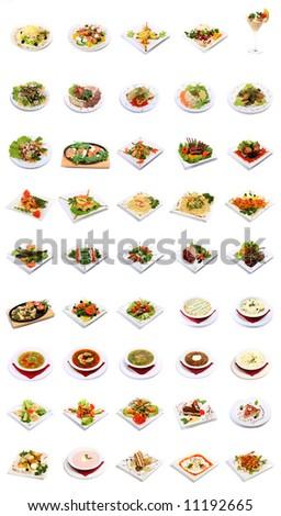 dish selection isolated on white background - stock photo