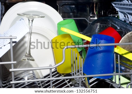 dish wash interior with plates and glasses