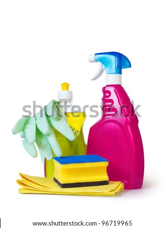 dish washing detergent, sponge, gloves and cloth over white background - stock photo