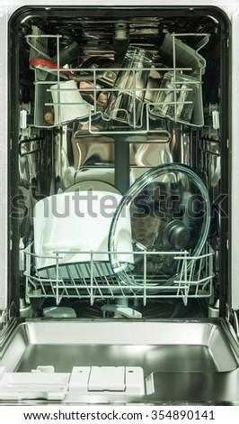 dish-washing machine - stock photo
