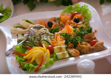 Dish with a choice of snack from seafood and vegetables