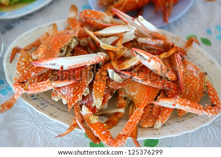 Dish with cooked crabs - stock photo