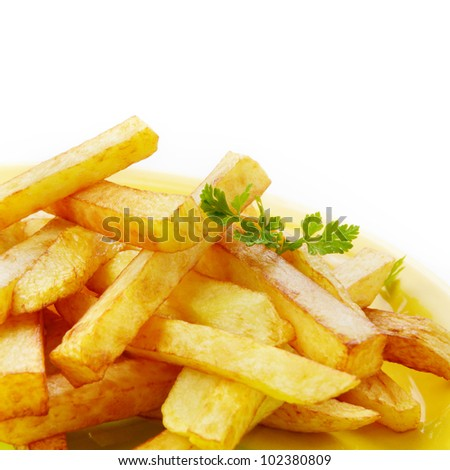 Dish with french fries over white background - stock photo
