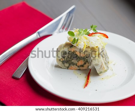dish with prawns decorated - stock photo