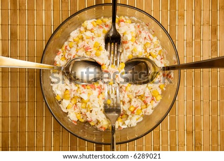 Dish with salad. Top view. - stock photo