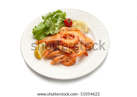 dish with shrimp and salad - stock photo