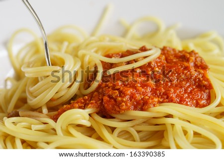 Dish with spaghetti and bolognese sauce - stock photo