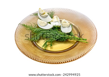 Dish with the boiled eggs and dill it is isolated on a white background - stock photo