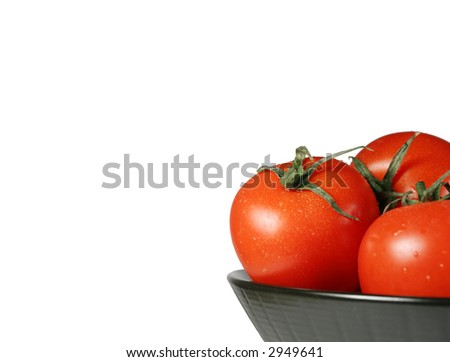 Dish with tomatoes, isolated on white - stock photo