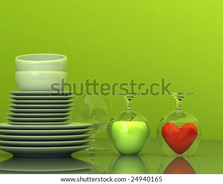 dishes and glass - stock photo