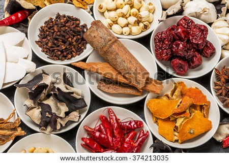 Dishes prepared with medicinal herbs Chinese medicine longevity food - stock photo