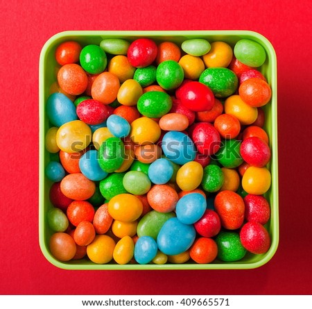 dishes with candy - stock photo