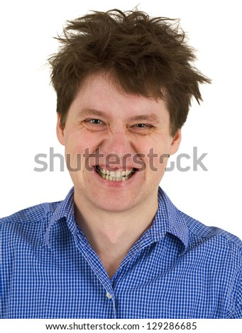 Dishevelled madman in blue shirt isolated on white background - stock photo