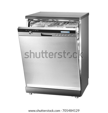 dishwasher clipart black and white. dishwasher machine isolated on white background. modern freestanding stainless steel range. domestic appliances clipart black and