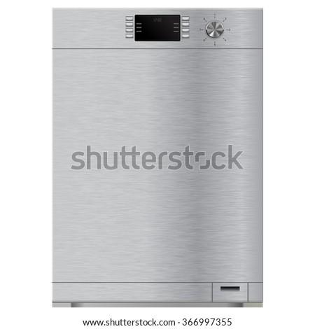 Dishwasher. Raster version. Illustration isolated on white background. - stock photo