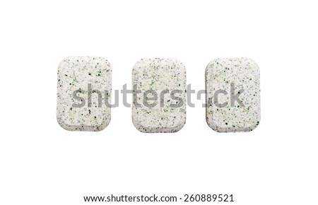 Dishwasher tablets on a white background - stock photo