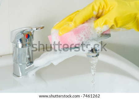 Disinfection and sanitary clearing of a sink - stock photo