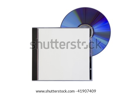 disk and a box with a blank cover on white - stock photo
