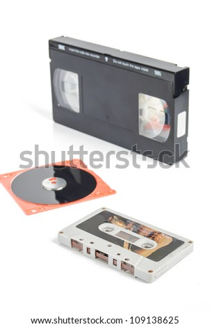 Disk and tape - stock photo