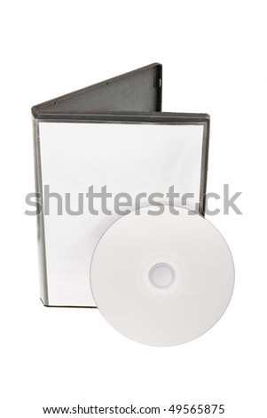 Disk and white DVD box isolated on white background - stock photo