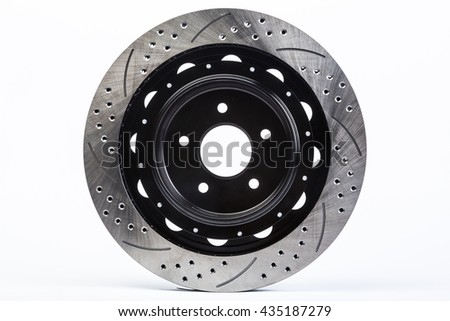 Disk brakes on white background, isolated parts, car parts - stock photo