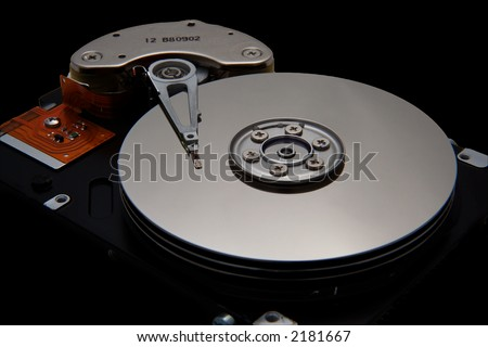 Disk Drive on Black - stock photo