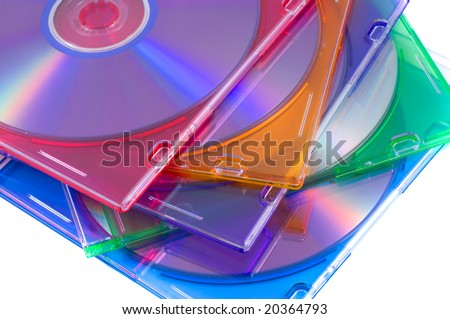 disk, DVD boxes isolated - stock photo