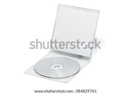 Disk DVD CD on white background. - stock photo